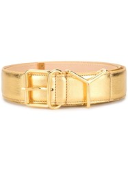 Y Project Metallic Gold Leather Belt