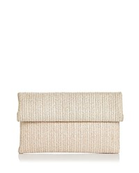 Street Level Straw Foldover Clutch Ivory Tan Gold