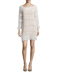 Tracy Reese Crochet Accented Shift Dress Soft White