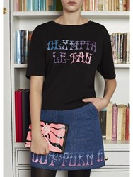 Olympia Le Tan Griffin Embroidered T Shirt Black