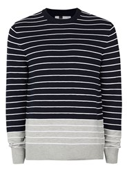 Topman Blue Navy And Grey Ripple Stripe Jumper