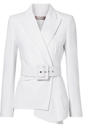 Michael Kors Collection Belted Asymmetric Crepe Blazer White