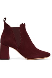 Chloe Scalloped Suede Ankle Boots Merlot