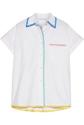 Mira Mikati Embroidered Cotton Poplin Shirt White