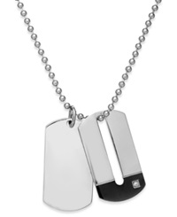 Sutton By Rhona Sutton Men's Stainless Steel Double Dog Tag Necklace Silver