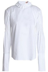 Maggie Marilyn Shirred Cotton Poplin Blouse White