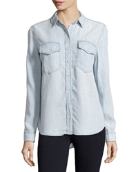 Velvet Heart Light Wash Chambray Blouse Light Blue