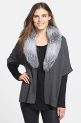Sofia Cashmere Open Front Cashmere Sweater With Genuine Fox Fur Collar Gray