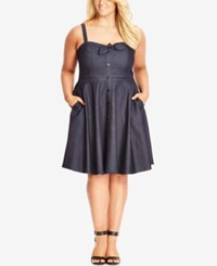 City Chic Plus Size Sleeveless Denim Fit And Flare Dress Navy