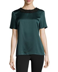 Jason Wu Beaded Neck Short Sleeve Satin Tee Women's