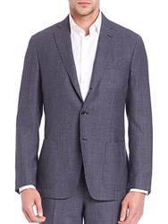 Saks Fifth Avenue Collection Micro Checked Wool Jacket Blue