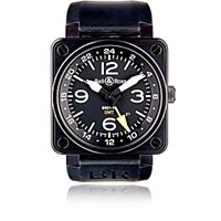 Bell And Ross Men's Br 01 93 Gmt 24H Watch Black Blue Black Blue