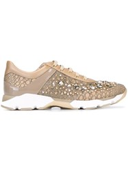 Rene Caovilla Embellished Sneakers Nude And Neutrals