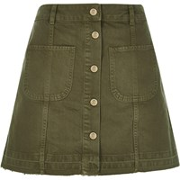 River Island Womens Khaki Denim Button Up A Line Skirt