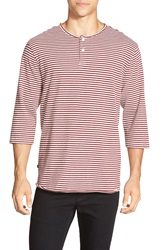 Obey 'Astor' Stripe Knit Three Quarter Sleeve Henley Burgundy Multi