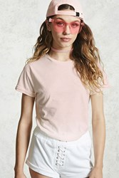 Forever 21 Acid Wash Dip Dye Tee Cream Light Pink