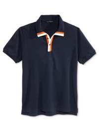 Sean John Men's Stripe Placket Polo Navy