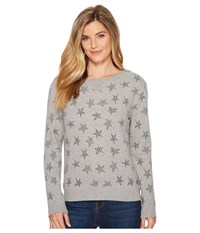 Life Is Good All Over Stars Crew Sweatshirt Heather Gray Fleece