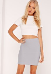 Missguided Bodycon Bandage Mini Skirt Grey