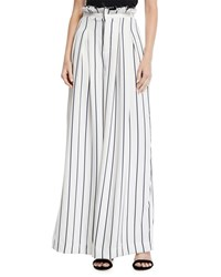 Kendall Kylie Pinstriped Wide Leg Paperbag Pants White Blue