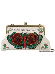 Sarah's Bag Floral Embroidered Clutch Nude And Neutrals