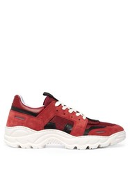 Ami Running Lucky 9 Suede And Mesh Trainers Burgundy