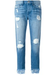 3X1 Frayed Cropped Jeans Blue