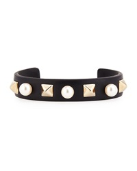 Valentino Thin Leather Pearly Stud Cuff Black