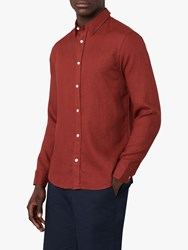 Jaeger Long Sleeve Linen Shirt Red