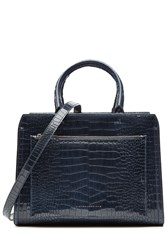 Victoria Beckham Snake Embossed Patent Leather Tote Blue