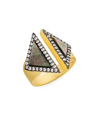 Freida Rothman Grey Mother Of Pearl Open Triangle Ring Gold