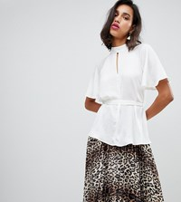 River Island Blouse With Keyhole Detail In Ivory Cream
