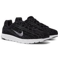 Nike Mayfly Premium Leather Trimmed Suede Sneakers Black