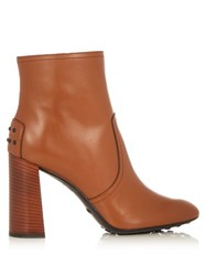 Tod's Gomma Leather Ankle Boots Tan