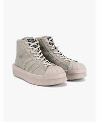 Rick Owens X Adidas Mastodon Pro Model Leather Sneakers Taupe Lemon White Black Denim