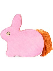 Hillier Bartley Rabbit Tassel Tail Clutch Women Cotton Calf Leather Polyester One Size Pink Purple