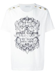 Balmain Pierre Button Detail T Shirt White