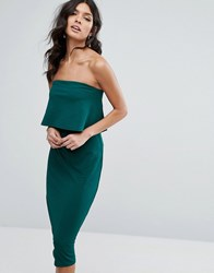 Club L Detailed Overlay Midi Pencil Dress Forest Green
