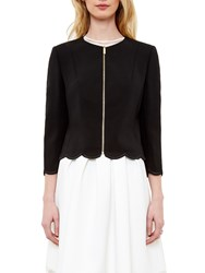 Ted Baker Heraly Scallop Detail Cropped Jacket Black