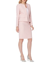 Tahari By Arthur S. Levine Classic Fit Solid Striped Skirt Suit Ballet Pink