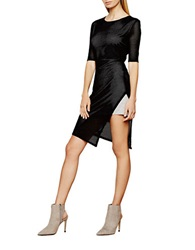 Autograph Addison Mesh Overlay Side Slit Dress Black