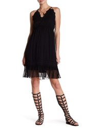 Hale Bob Halter Embroidered Woven Knit Silk Dress Black