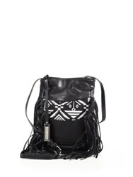 Urban Originals Aztec Drift Fringed Canvas And Faux Leather Bucket Bag