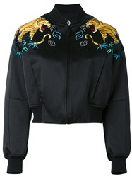 Marcelo Burlon County Of Milan Tiger Embroidered Bomber Jacket Women Polyamide Polyester Viscose S Black