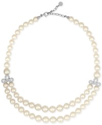 Majorica Sterling Silver Imitation Pearl Double Row Collar Necklace White