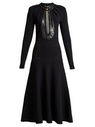 Proenza Schouler Keyhole Leather Trimmed Stretch Knit Dress Black