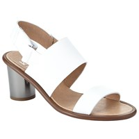 John Lewis Kin By Madlen Double Strap Block Heeled Sandals White