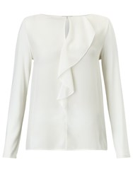 Marella Moneta Silk Front Jersey Back Top White