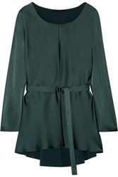 The Row Isa Hammered Satin Top Petrol