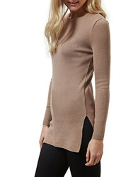 Miss Selfridge Knit Tunic Beige